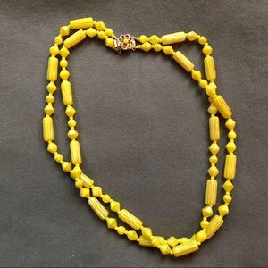 Vintage glass bead necklace, yellow and white